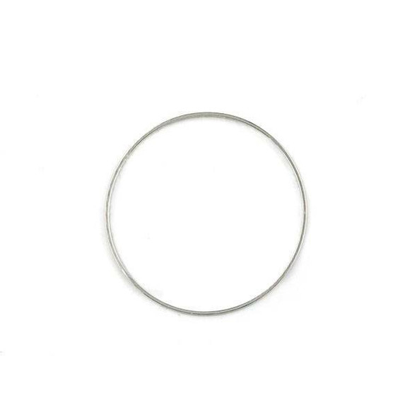 Silver Plated Brass 34mm One Sided Textured Hoop Link Components - 6 per bag - CTBXJ-023s