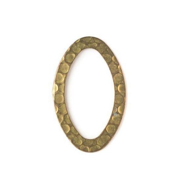 Brass 18x28mm Hammered Oval Link - 10 per bag - baseaDS028vb