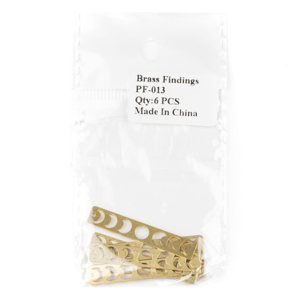 Raw Brass 7x40mm Moon Phases Rectangle Drop Component - 6 per bag