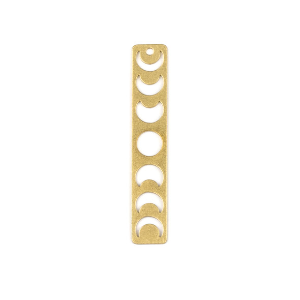 Coated Brass 7x40mm Moon Phases Rectangle Drop Component - 6 per bag