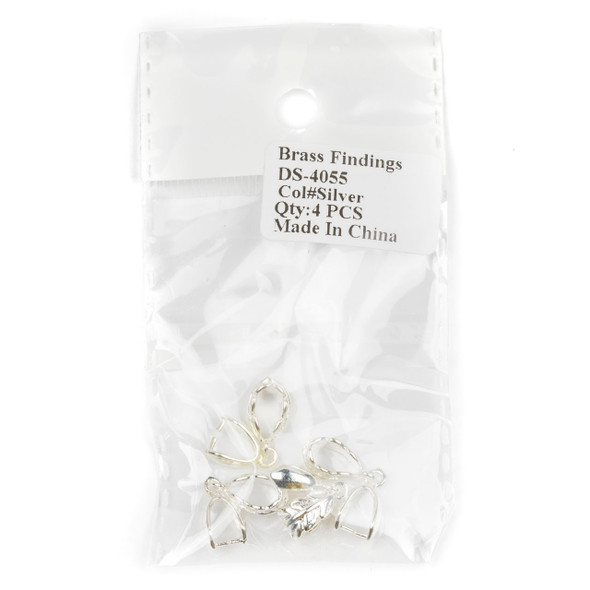 Silver Plated Brass 7x24mm Leaf Pinch Bail - 4 per bag - DS-4055s