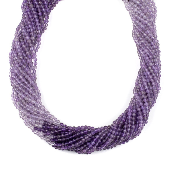 Multicolor Amethyst 3mm Faceted Round Beads - 15 inch strand
