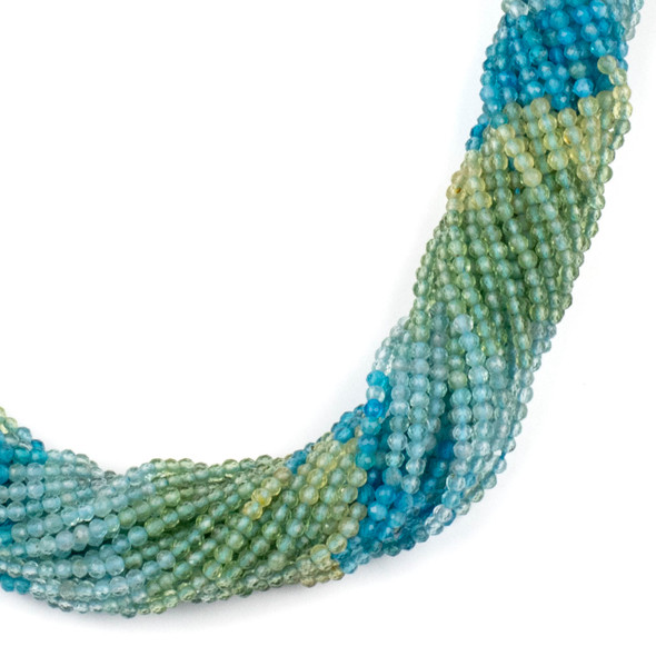 Multicolor Apatite 2mm Faceted Round Beads - 15 inch strand