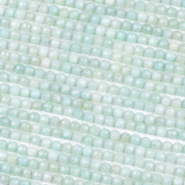 Light Blue Amazonite 4mm Faceted Round Beads - 15 inch strand