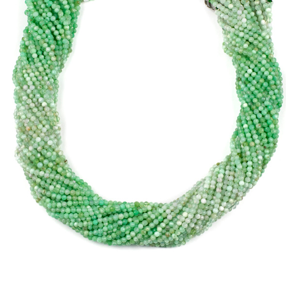 Multicolor Light Chrysoprase 2mm Faceted Round Beads - 15 inch strand