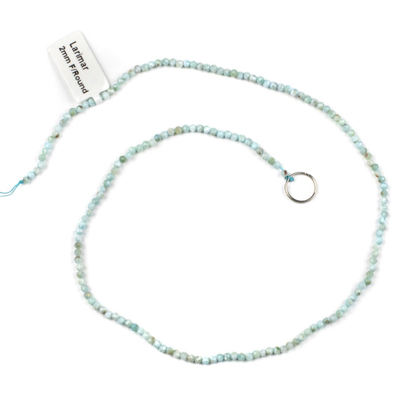 Larimar 2-2.5mm Faceted Round Beads - 15 inch strand