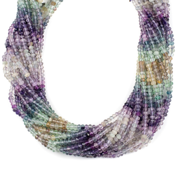 Multicolor Fluorite 3x4mm Faceted Rondelle Beads - 15 inch strand