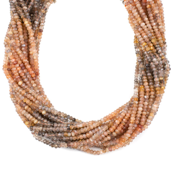 Multicolor Rainbow Moonstone 3x4mm Faceted Rondelle Beads - 15 inch strand