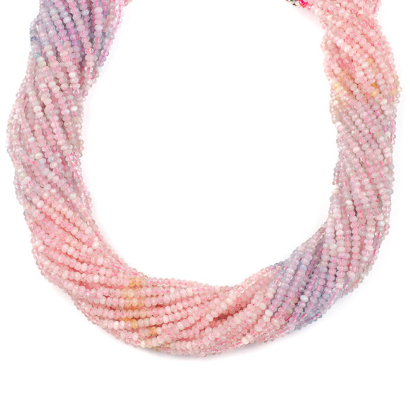 Multicolor Morganite 2x3mm Faceted Rondelle Beads - 15 inch strand