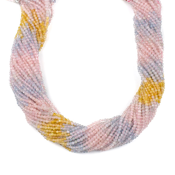 Multicolor Morganite 2mm Faceted Round Beads - 15 inch strand