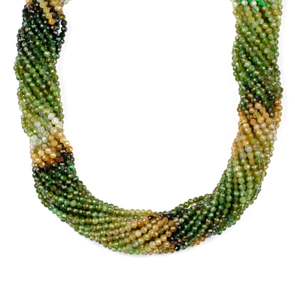 Multicolor Green Tourmaline 3mm Faceted Round Beads - 15 inch strand