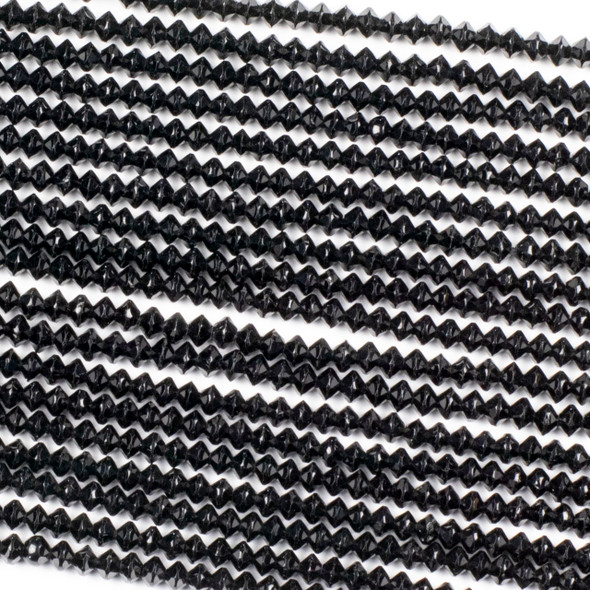 Black Tourmaline 3x4mm Faceted Saucer Beads - 15 inch strand