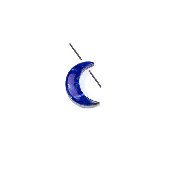 Lapis 14mm Top Drilled Crescent Moon Pendant - 1 per bag