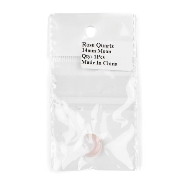 Rose Quartz 14mm Top Drilled Crescent Moon Pendant - 1 per bag