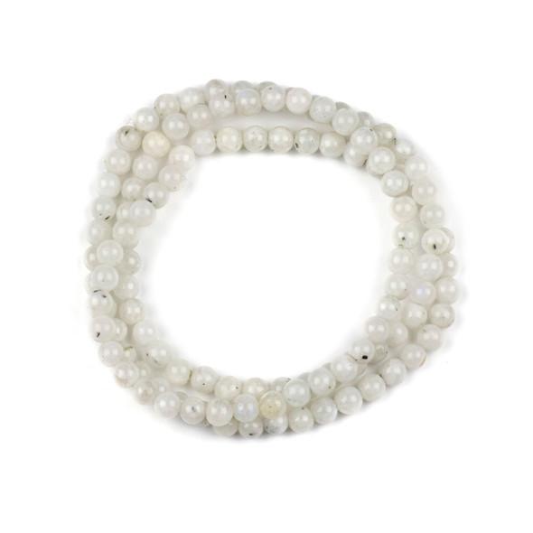 Moonstone 6mm Mala Round Beads - 29 inch strand