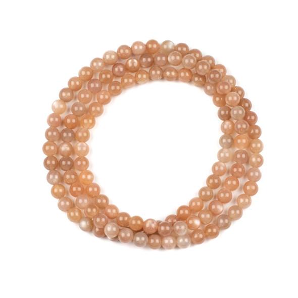 Peach Moonstone 6mm Mala Round Beads - 29 inch strand