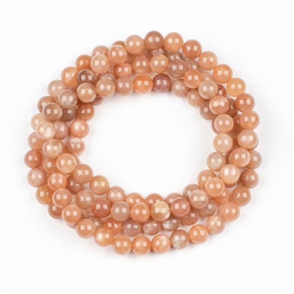 Peach Moonstone 8mm Mala Round Beads - 36 inch strand