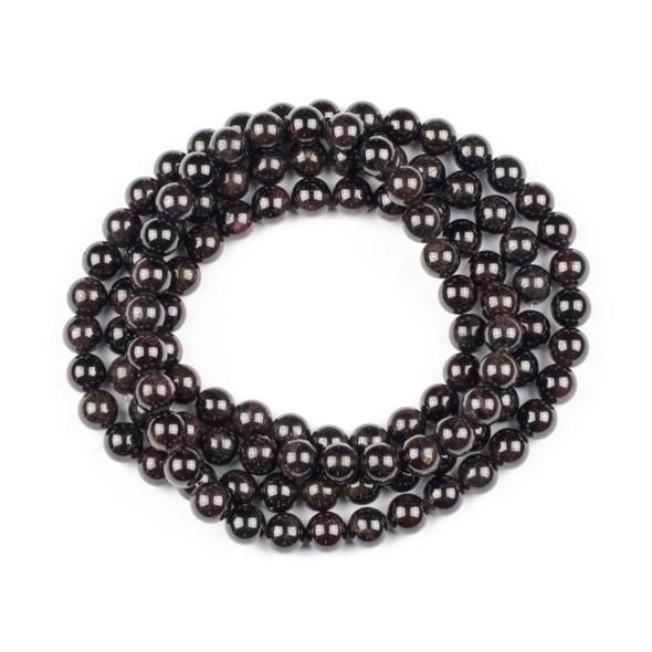 Garnet 8mm Mala Round Beads - 36 inch strand