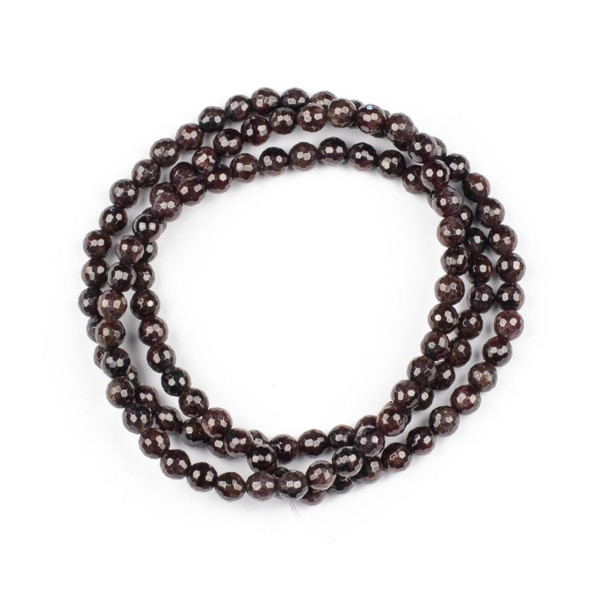 Garnet 6mm Mala Faceted Round Beads - 29 inch strand