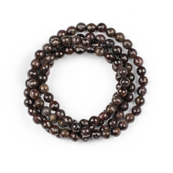 Garnet 8mm Mala Faceted Round Beads - 36 inch strand