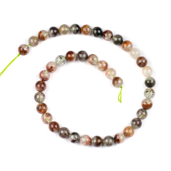 Rainbow Phantom Quartz 10mm Round Beads - 15.5 inch strand