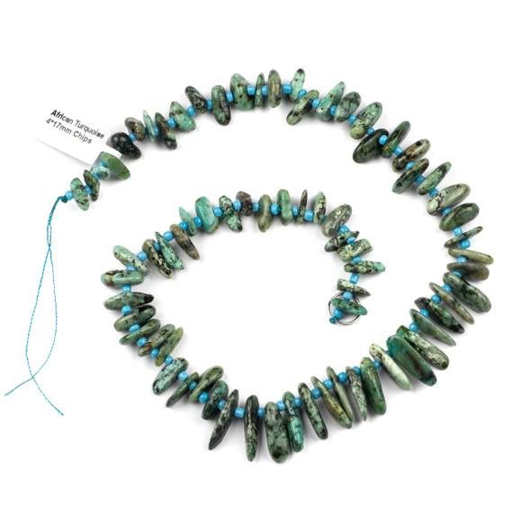 African Turquoise 14x17mm Chip Beads - 15 inch strand