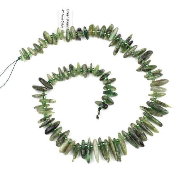 Green Kyanite 14x17mm Chip Beads - 15 inch strand
