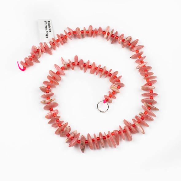 Rhodochrosite 14x17mm Chip Beads - 15 inch strand