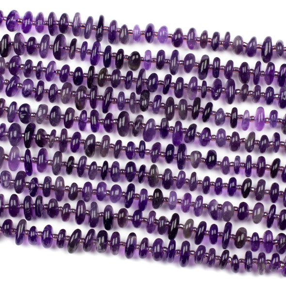 Amethyst 10mm Heishi Chip Beads - 15 inch strand