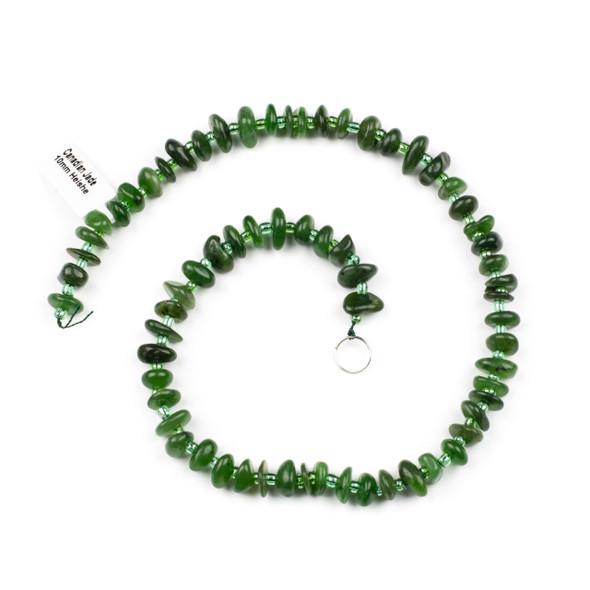 Canadian Jade 10mm Heishi Chip Beads - 15 inch strand