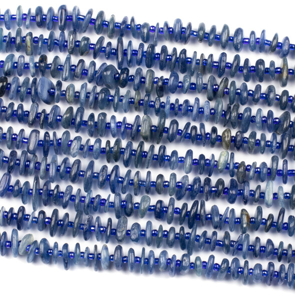 Kyanite 10mm Heishi Chip Beads - 15 inch strand