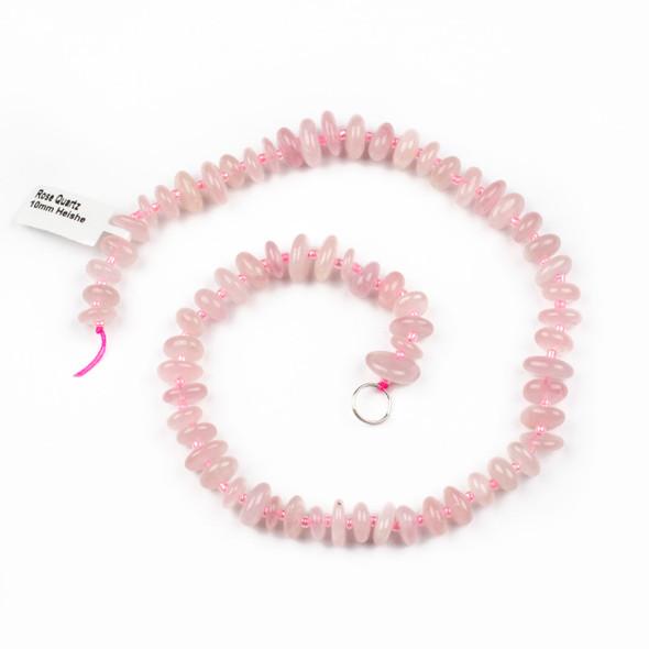 Rose Quartz 10mm Heishi Chip Beads - 15 inch strand