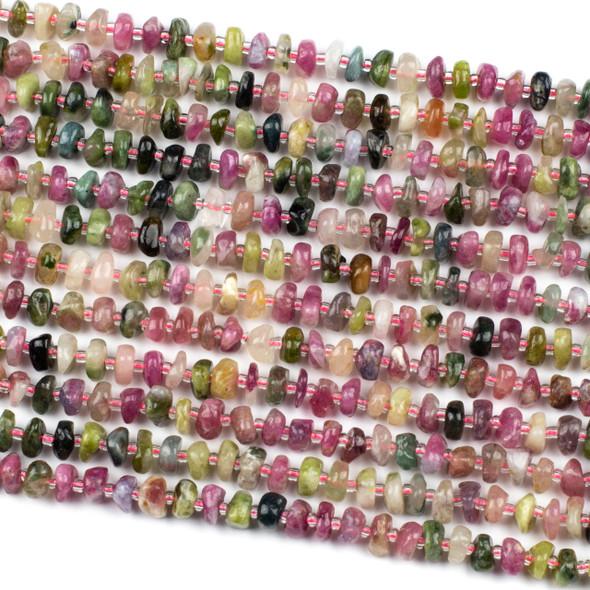 Rainbow Tourmaline 10mm Heishi Chip Beads - 15 inch strand