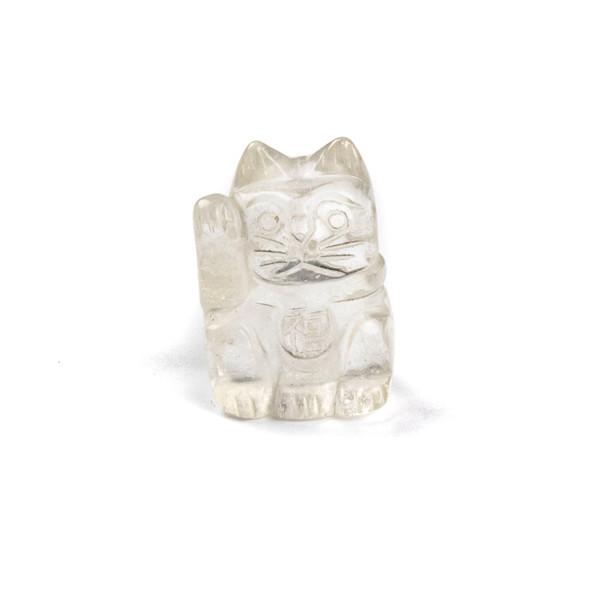 """Clear Quartz Lucky Cat - approx. 1"""", 1 piece"""