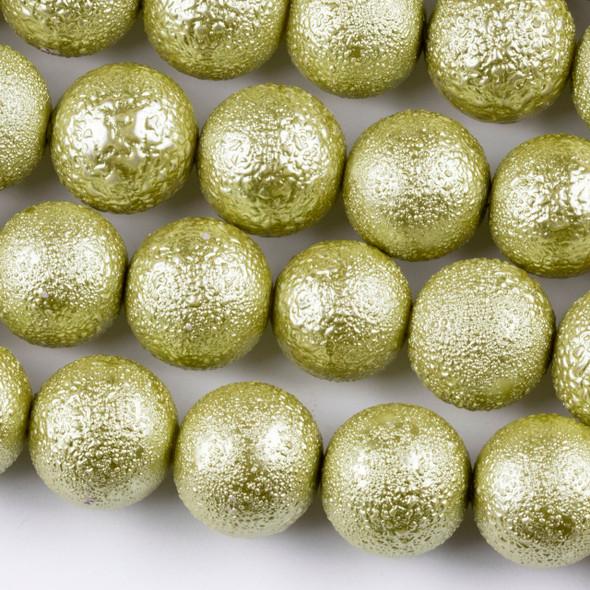 Bumpy Glass Pearl 14mm Sage Green Round Beads - 8 inch strand