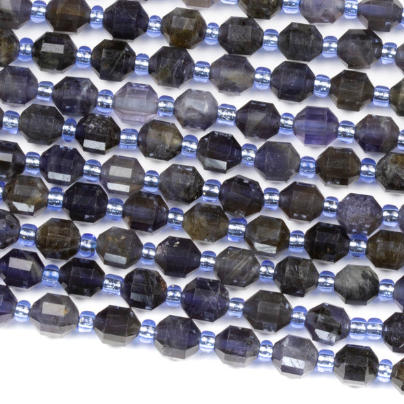 Iolite 5x6mm Faceted Prism Beads - 15 inch strand