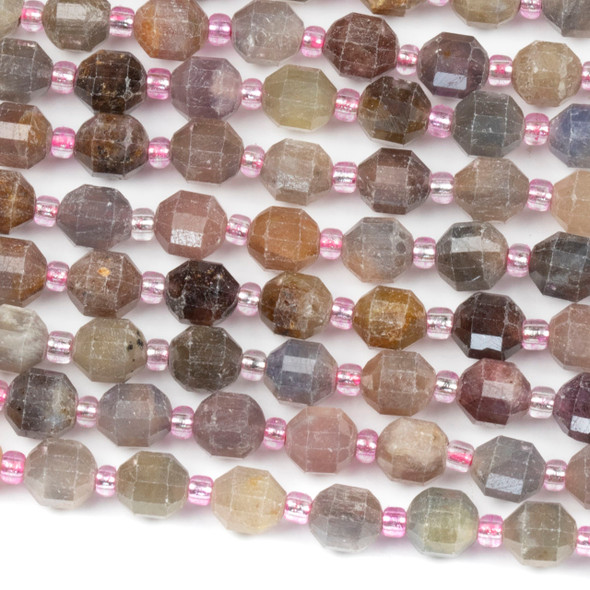 Sapphire and Ruby 6x7mm Faceted Prism Beads - 15 inch strand