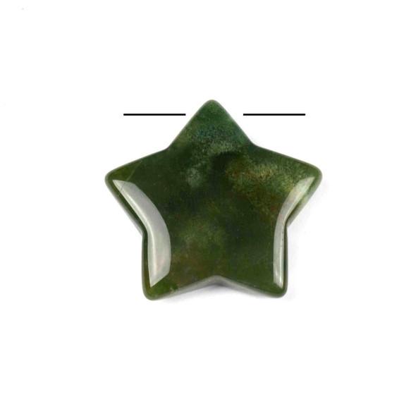Moss Agate 30mm Top Drilled Star Pendant - 1 per bag