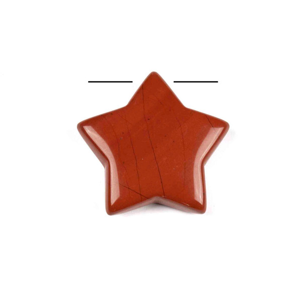 Red Jasper 30mm Top Drilled Star Pendant - 1 per bag