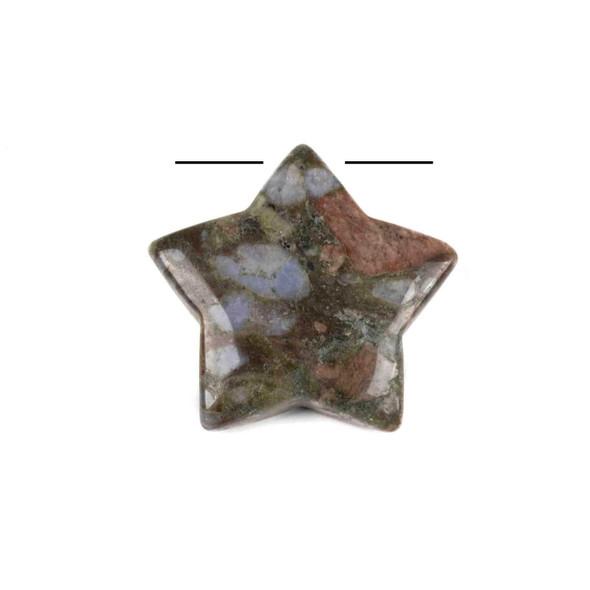 Blue Riolita 30mm Top Drilled Star Pendant - 1 per bag