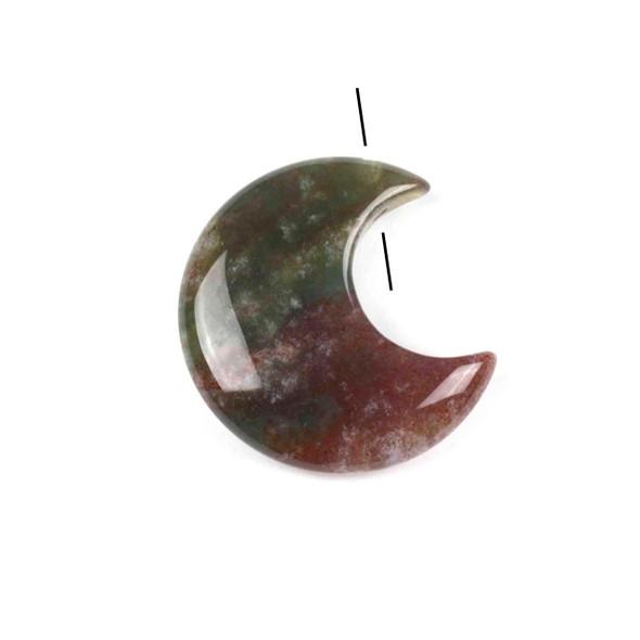 Fancy Jasper 27x30mm Top Drilled Crescent Moon Pendant - 1 per bag