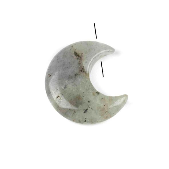 Blue Labradorite 27x30mm Top Drilled Crescent Moon Pendant - 1 per bag