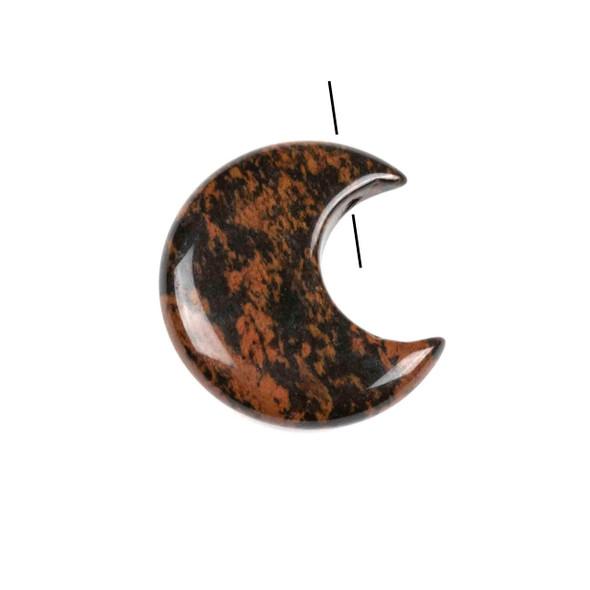 Mahogany Obsidian 27x30mm Top Drilled Crescent Moon Pendant - 1 per bag