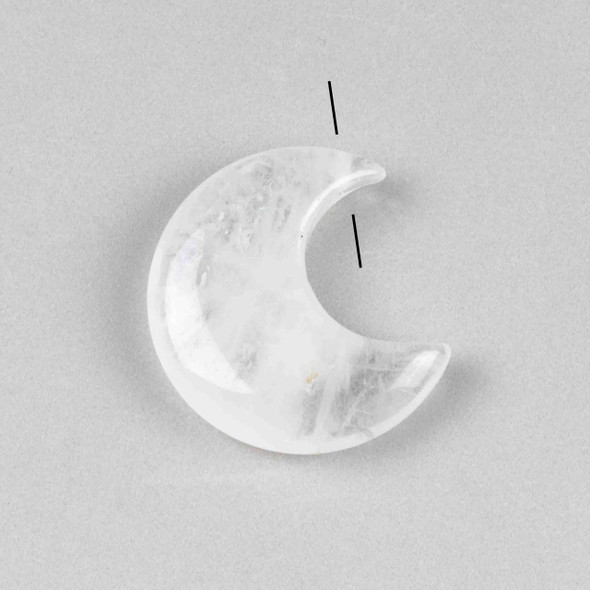 Clear Quartz 27x30mm Top Drilled Crescent Moon Pendant - 1 per bag