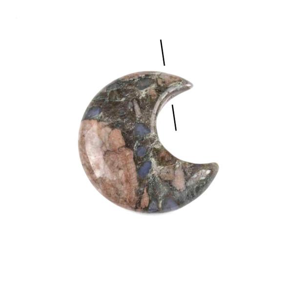 Blue Riolita 27x30mm Top Drilled Crescent Moon Pendant - 1 per bag