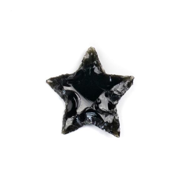 Black Obsidian Rough Cut Star Specimen - 1 piece, approx. 25x35mm