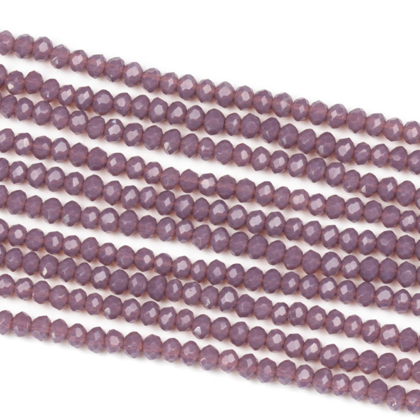 Crystal 2x2mm Opaque Thistle Purple Rondelle Beads - Approx. 15.5 inch strand