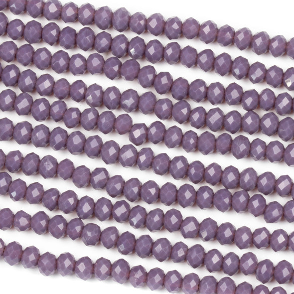 Crystal 3x4mm Opaque Thistle Purple Rondelle Beads - Approx. 15.5 inch strand