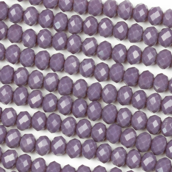 Crystal 4x6mm Opaque Thistle Purple Rondelle Beads - Approx. 15.5 inch strand