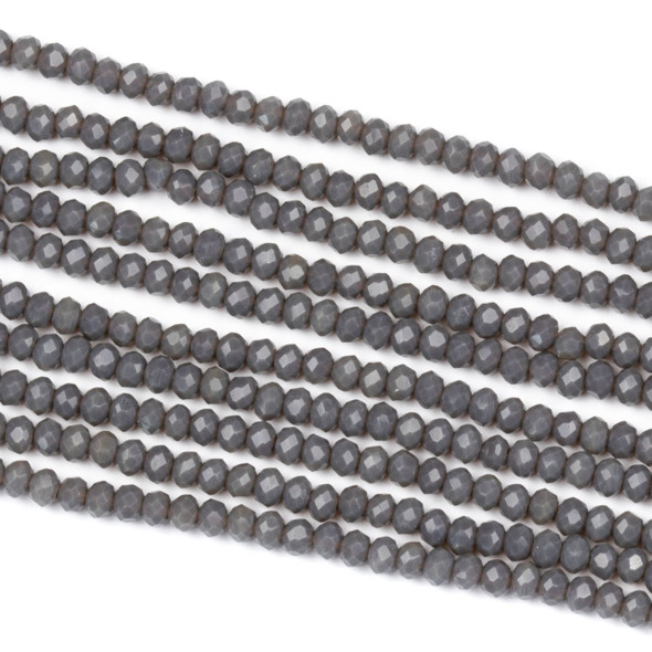 Crystal 2x2mm Opaque Earl Grey Rondelle Beads - Approx. 15.5 inch strand